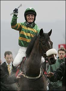 Tom Ryan celebrates his first Cheltenham Festival victory on board Kadoun