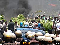 Protesters and police in provincial capital of Jayapura, Papua, Indonesia