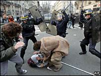 Riot police clash with protesters