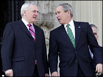 Bertie Ahern and George Bush