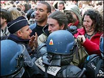 French students clash with police at a protest in Rennes