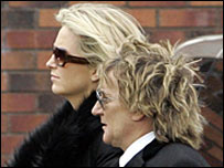 Rod Stewart and Penny Lancaster arrive for the funeral