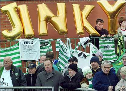 Fans gather outside Celtic Park