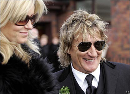 Rod Stewart and Penny Lancaster attend the funeral