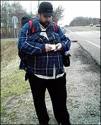 Steve Vaught by roadside - picture, S. Vaught