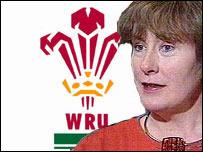 Gwyneth Lewis and WRU logo