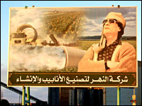 Poster of Muammar Al Qadhafi (BBC)