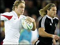 Mathew Tait heads for the try-line against New Zealand