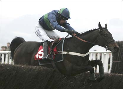 Andrew Tinkler on board Greenhope races home in the Johnny Henderson Grand Annual Chase