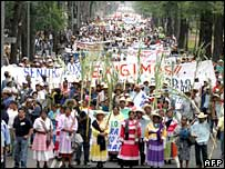 Women of the ethnic Mazahua group head a march at the World Water Forum