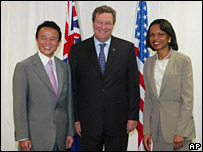 Japanese Foreign Minister Taro Aso (left), Australian Foreign Minister Alexander Downer (centre) and US Secretary of State Condoleezza Rice