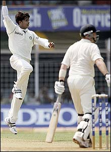 Sri Sreesanth removes England's Ian Bell