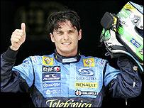 Giancarlo Fisichella celebrates pole position in Malaysia