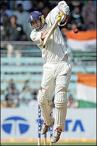 Kevin Pietersen fends off a short ball