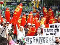 Manifestantes en Taiwán