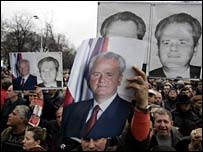 Milosevic supporters and posters