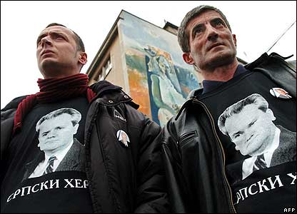 "Mourners in Pozarevac wear ""Serbian Hero"" tee-shirts"
