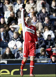 Boro's Australian striker Mark Viduka celebrates his equaliser