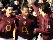 Robert Pires, Thierry Henry and Cesc Fabregas