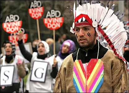 Protester dressed as native American in Istanbul, Turkey