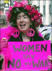 Woman protester in Washington, US