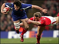 France's Christophe Dominci (left) and Wales' Matthew Watkins