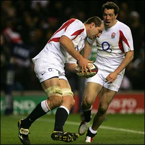 England's Steve Borthwick goes over for a try in the second half