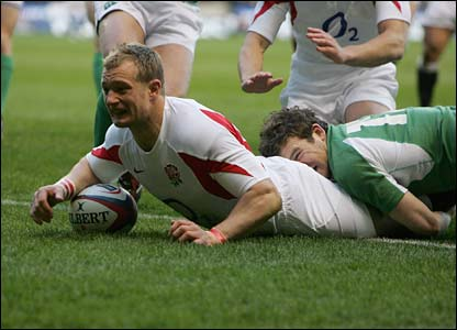 Jamie Noon scores the opening try for England at Twickenham