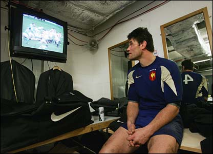 France's Fabien Pelous watches the game at Twickenham on television in Cardiff