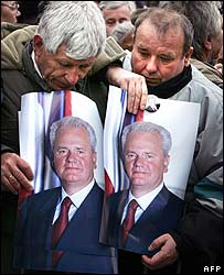Milosevic supporters outside the federal parliament building