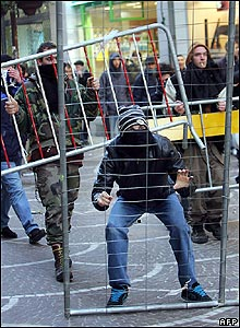 Demonstrators with barricades in Lille