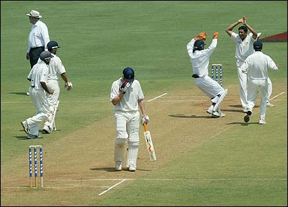 India celebrate as Andrew Flintoff is dismissed