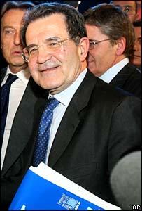 """the leader of the center-left L""""Unione coalition Romano Prodi"""
