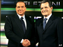 Italy's Prime Minister Silvio Berlusconi, left, and his center-left coalition election opponent Romano Prodi