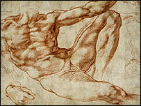 Sketch for the work Study For Adam from the Sistine Chapel. Copyright British Museum/PA