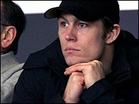 Injured fly-half Jonny Wilkinson intently watches a game featuring his club side Newcastle Falcons