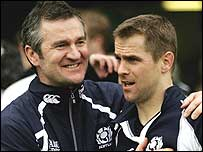 Coach Frank Hadden (left) celebrates with Chris Paterson after Scotland's win in Rome