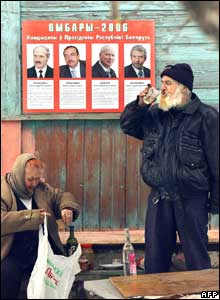 Man and woman drinking vodka outside polling station