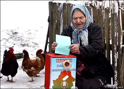 Woman placing vote in ballot box near chicken coop