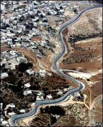 Aerial view of Israel security barrier