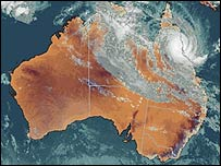 Satellite image courtesy of Australia's Bureau of Meteorology