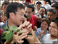 Prime Minister Thaksin Shinawatra on the campaign trail