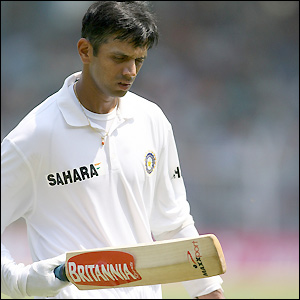 Rahul Dravid departs after sending the ball to Geraint Jones - he totals 52