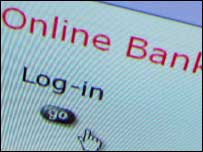 Login screen for online bank, BBC