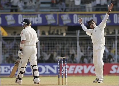 Sri Sreesanth celebrates his fifth wicket of the match