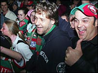 Russell Crowe mingles with South Sydney fans after a match against Sydney Roosters in 2005