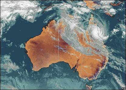 A satellite image showing the size of the cyclone