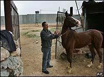 Bethlehem landowner with Israeli wall in background