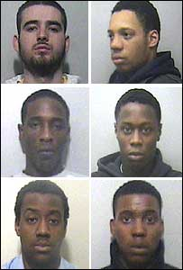 Indrit Krasniqi (top left), Adrian Thomas (top right), Jamaile Morally (centre left), Joshua Morally (centre right), Llewellyn Adams (bottom left) and Michael Johnson (bottom right)