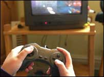 Computer game being played on TV, BBC